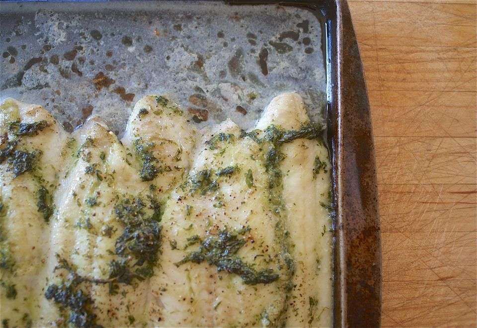 Baked Sole with Mint and Ginger