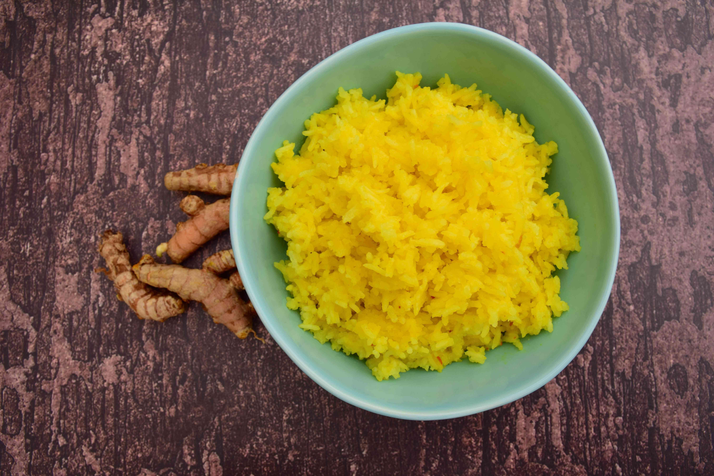 Indonesian turmeric rice or Nasi Kuning