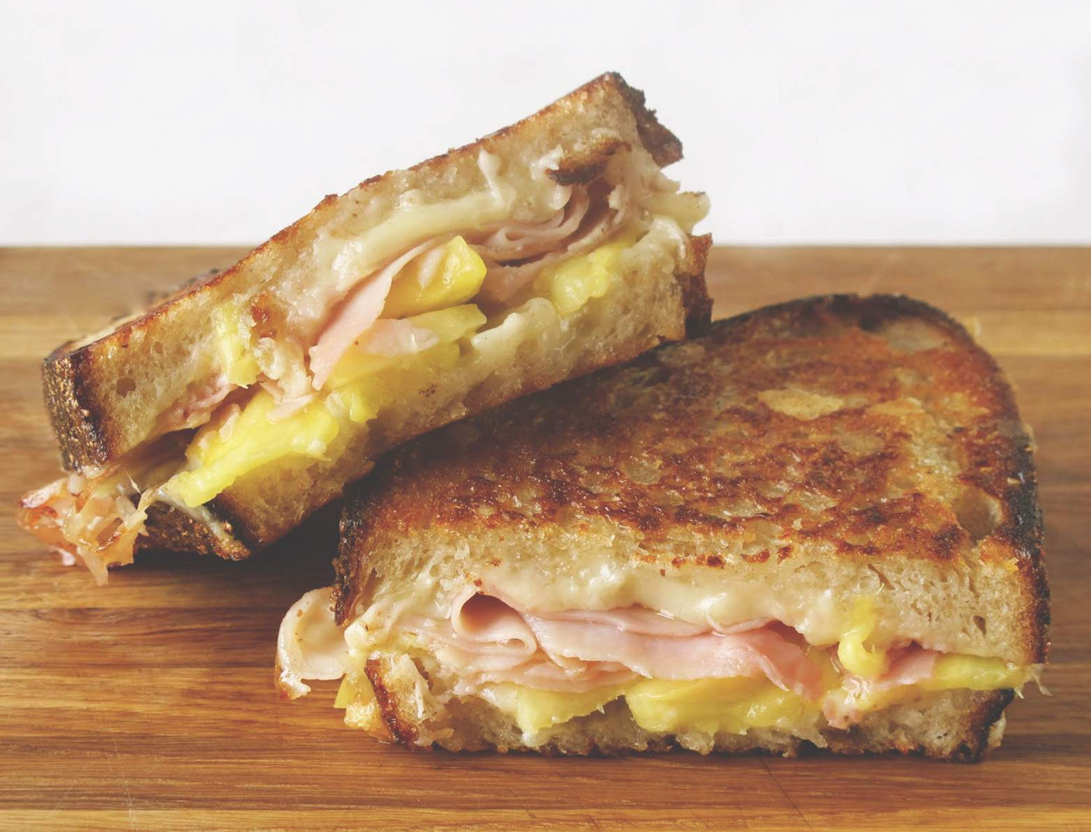 Comte grilled cheese sandwich with ham and pineapple