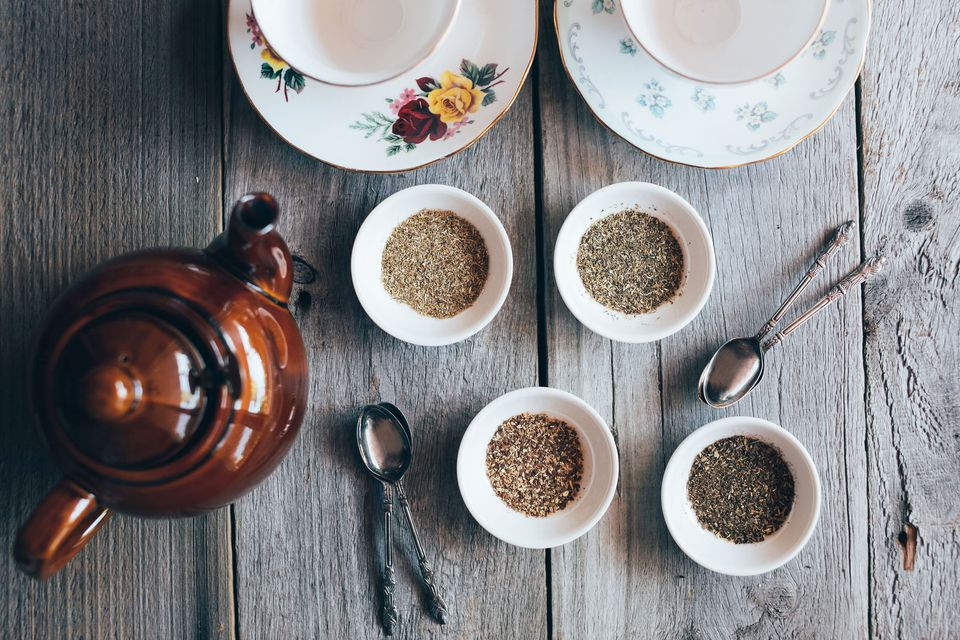 Tea pot with dried tea leaves