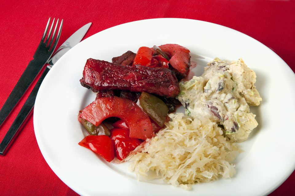 BBQ ribs with potato salad and sauerkraut
