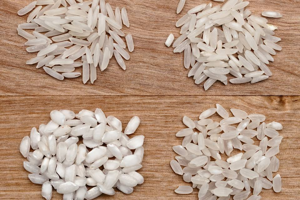 Arborio rice alongside various other white rices