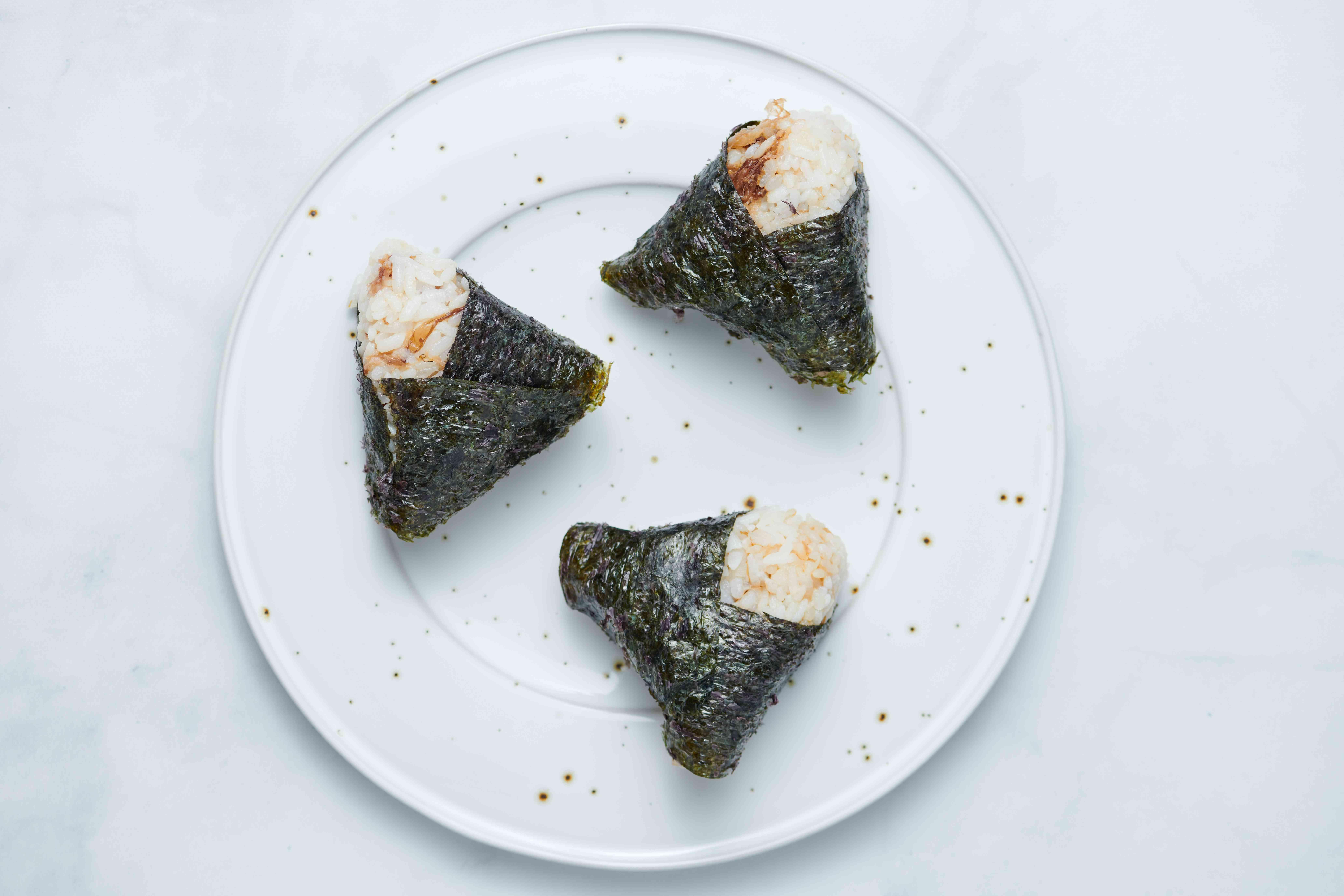 Okaka Onigiri Rice Balls on a plate