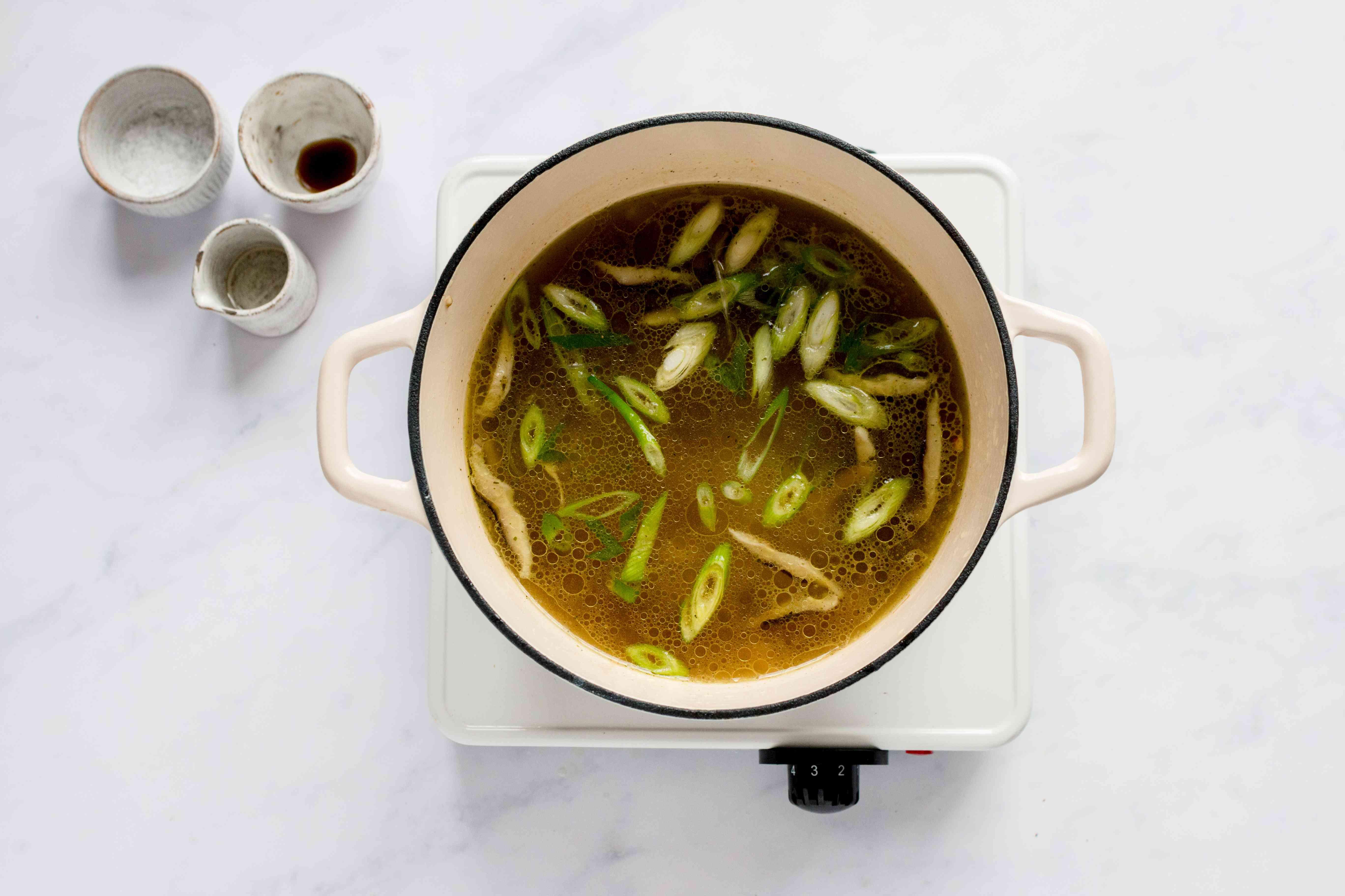 Japanese Enoki and Shiitake Mushroom Soup in a pot