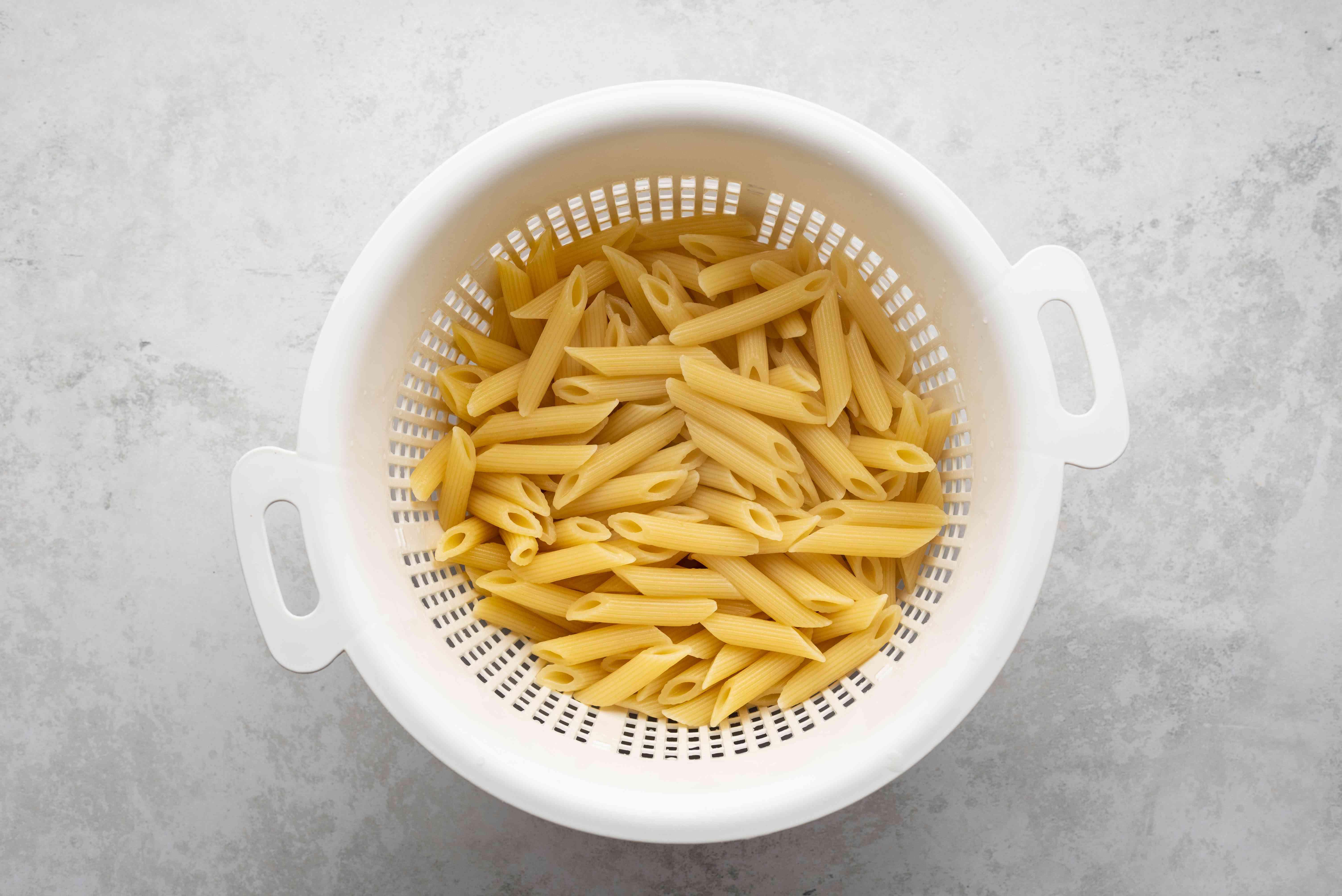 pasta in a colander