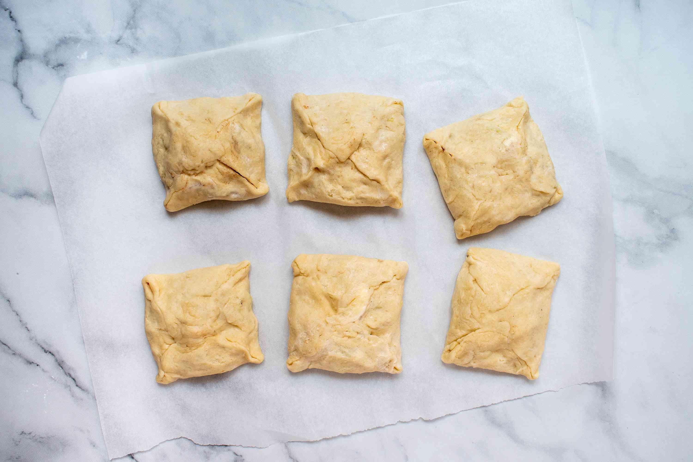 apple dumpling squares on parchment paper