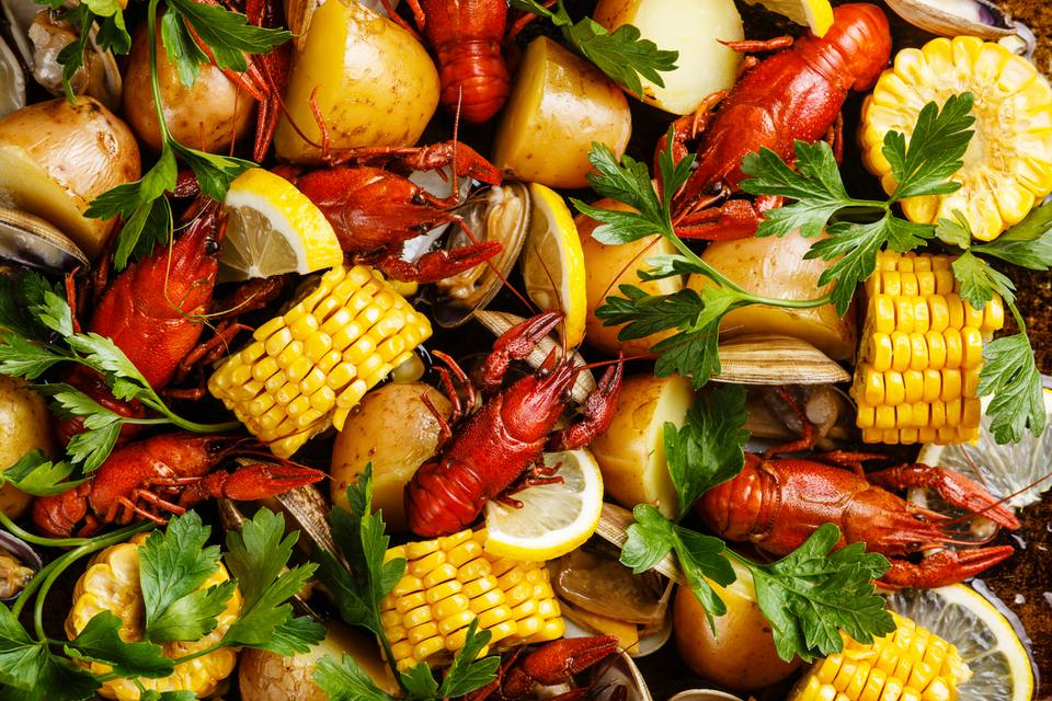 Lobsters, corn, potatoes, clams