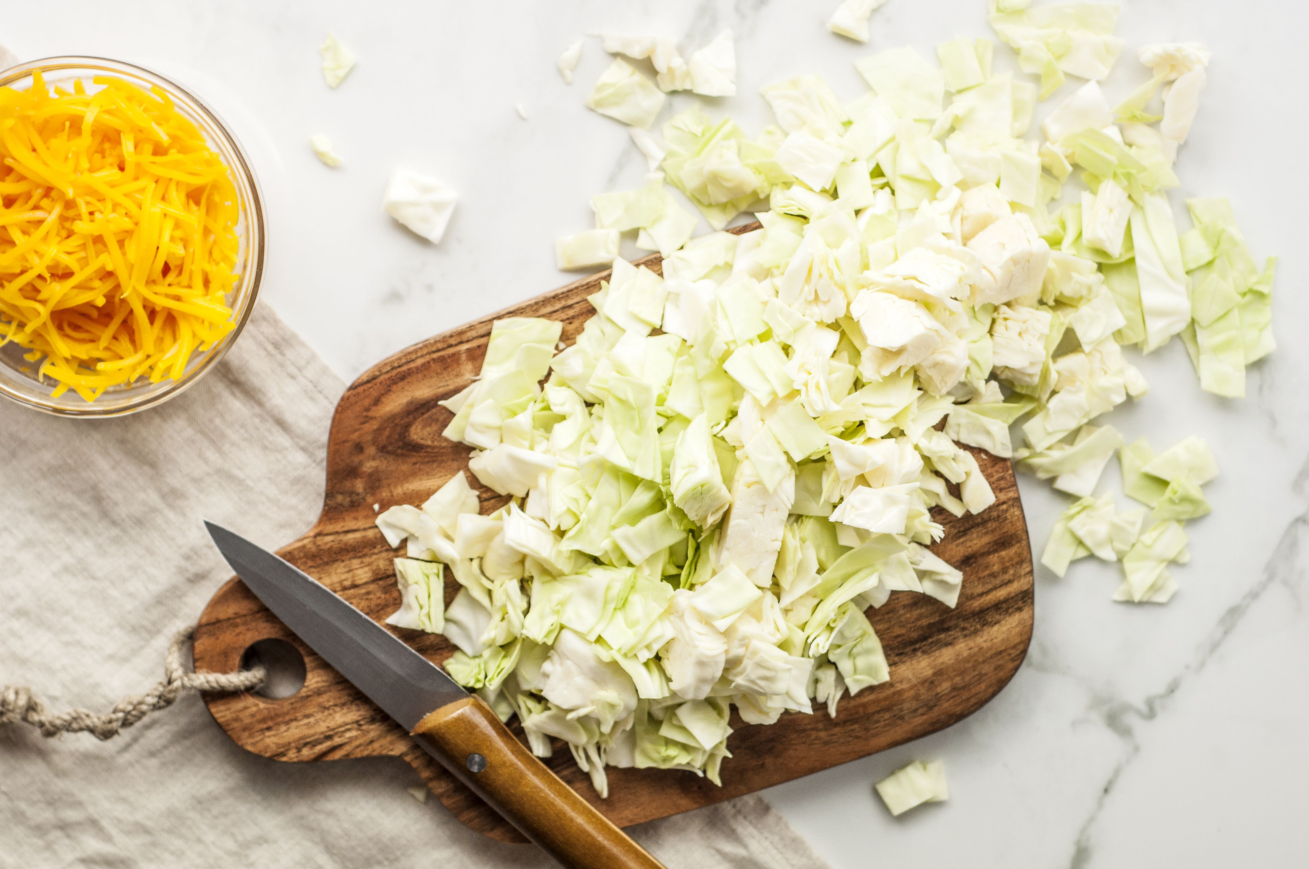 Chopped cabbage for casserole