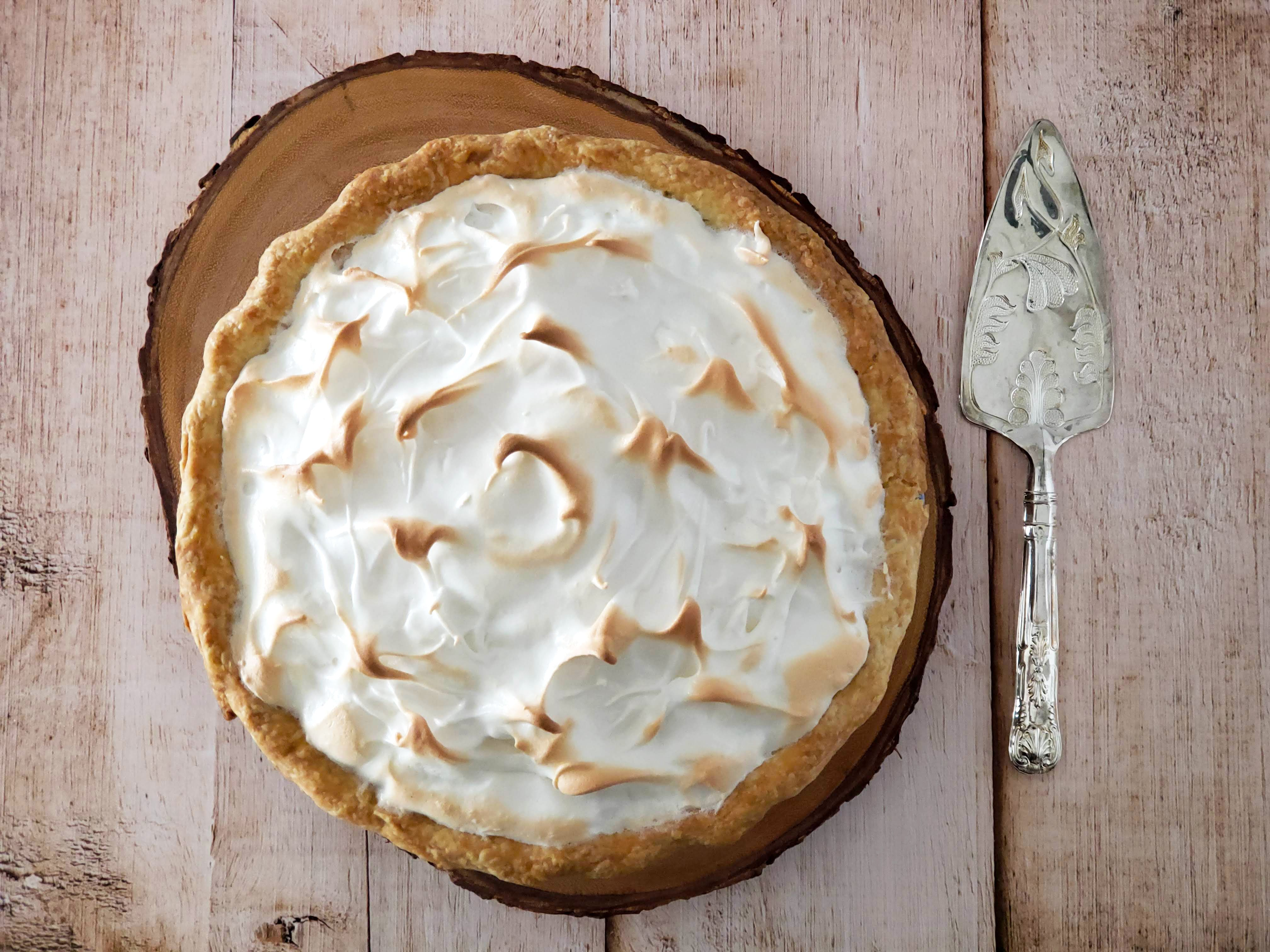 Caramel pie with meringue topping.