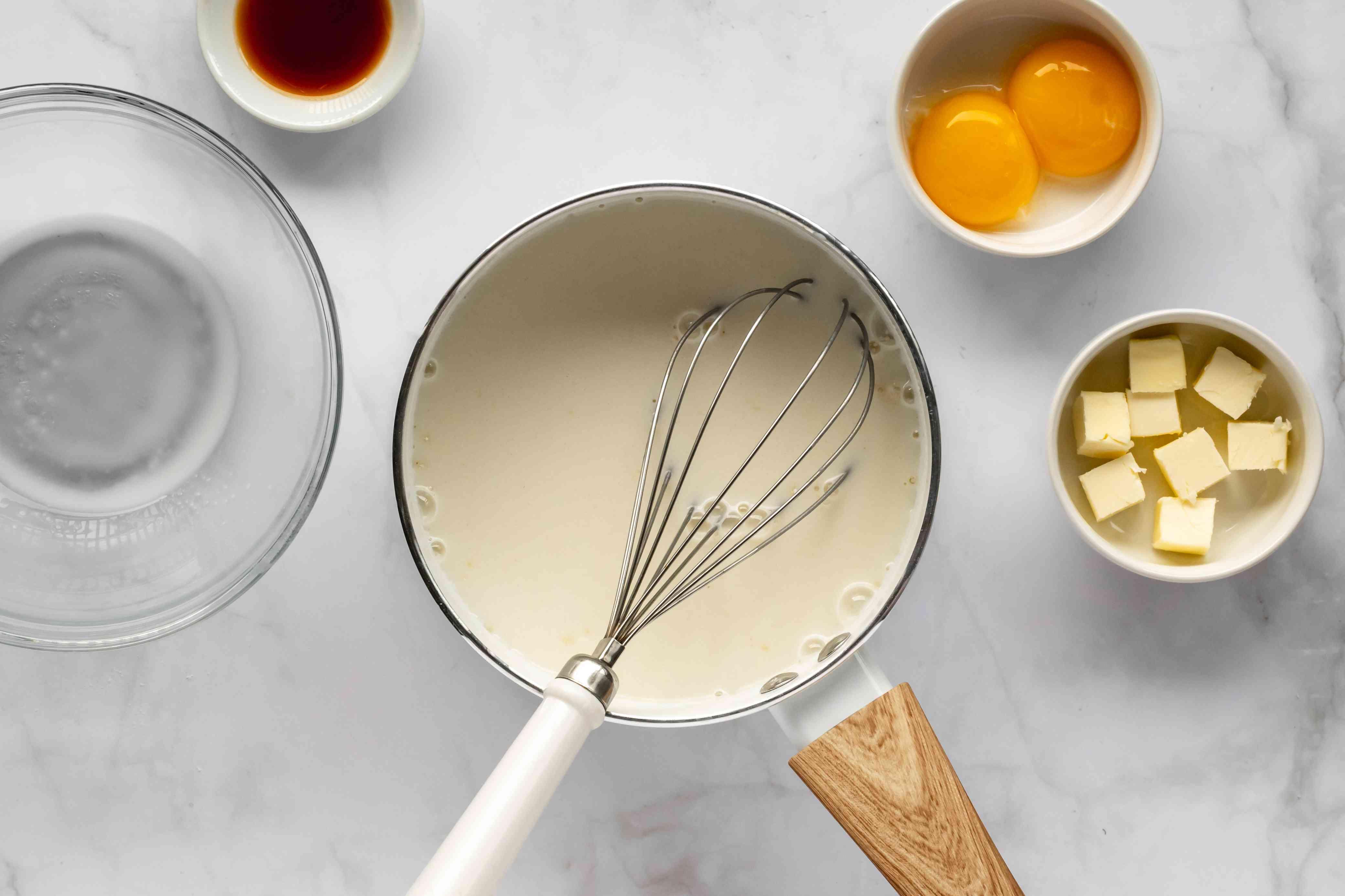 milk, sugar, flour and salt in a saucepan