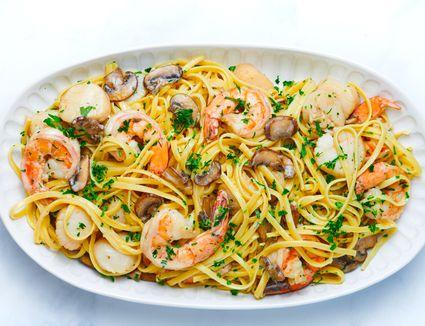 Seafood Pasta With Mushroom Cream Sauce