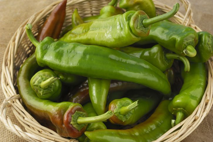 Anaheim peppers in basket