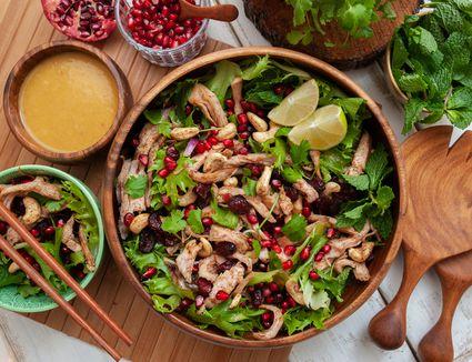 Asian spiced turkey salad with pomegranate