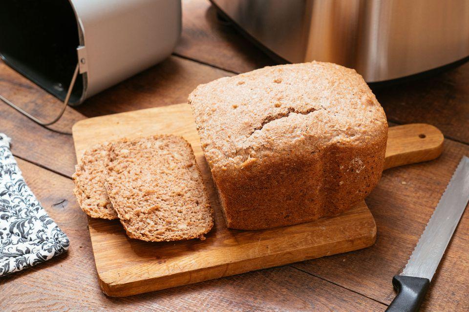 Bread Machine Honey Molasses Oatmeal Bread on Table