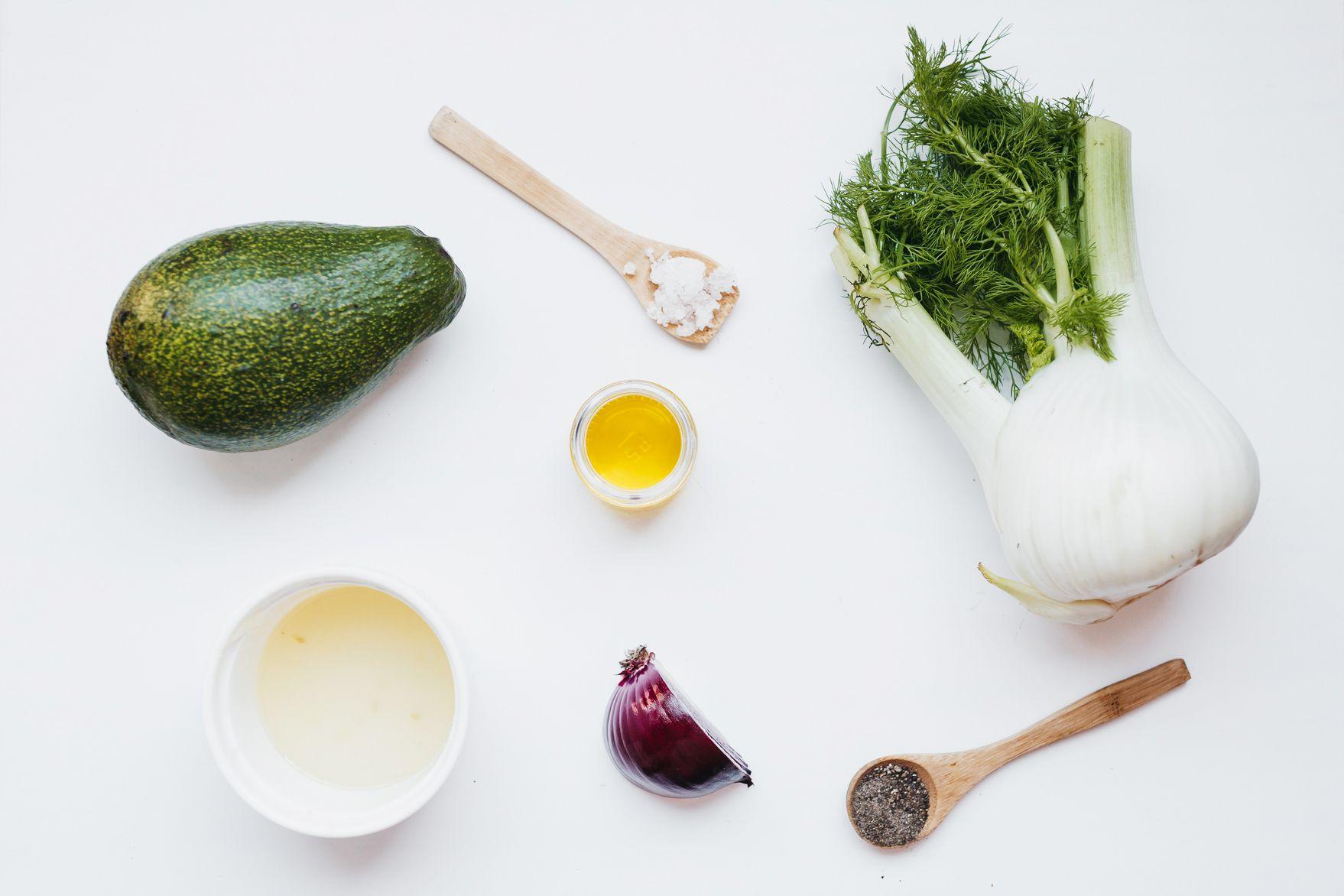 Ingredients for avocado fennel salad