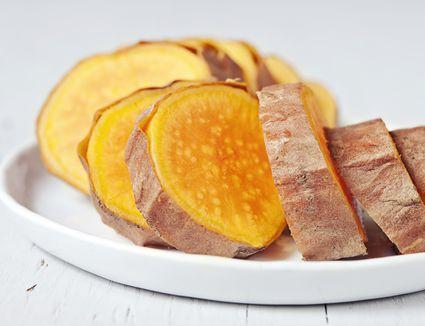 sliced baked sweet potatoes