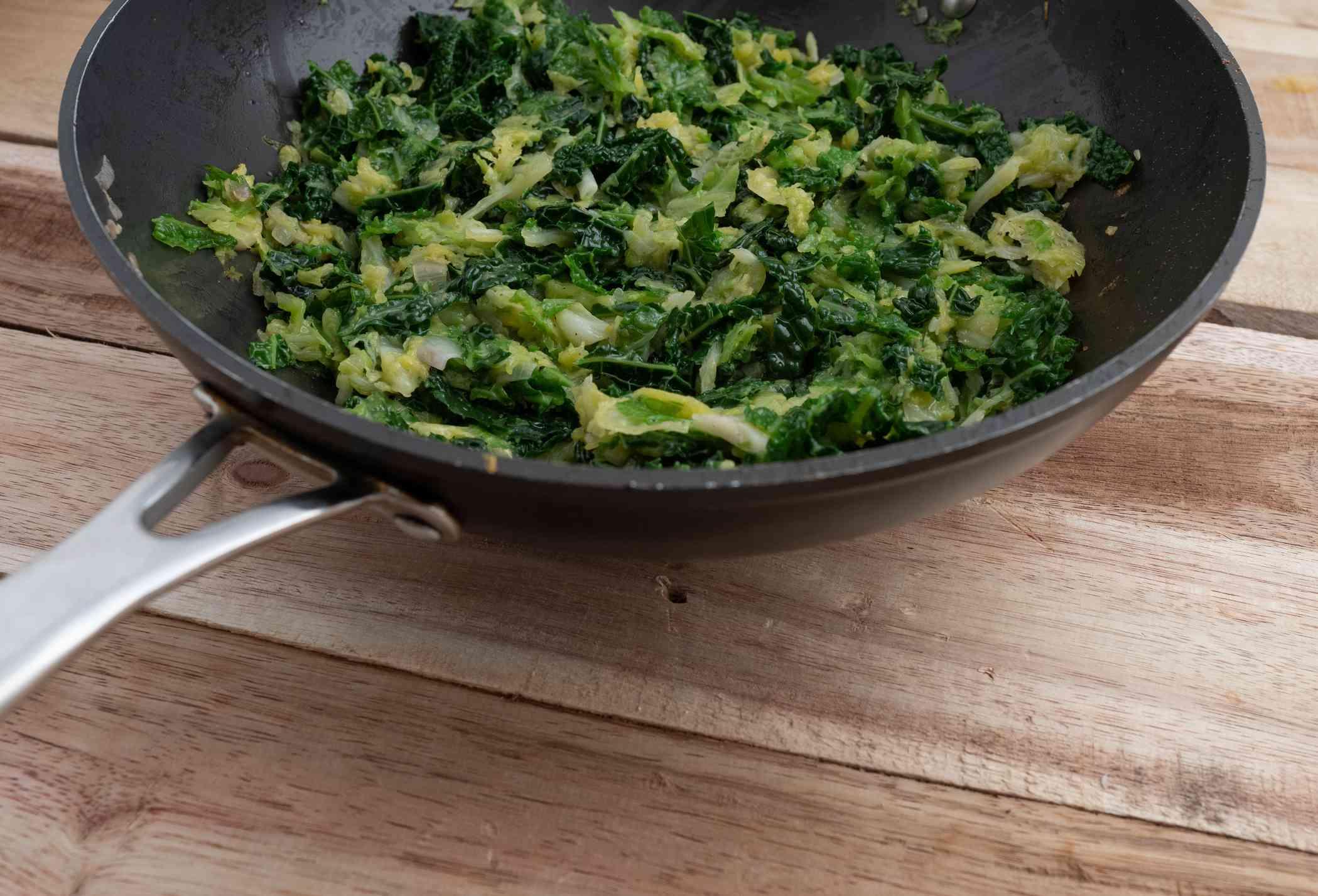 Savoy cabbage sauteed