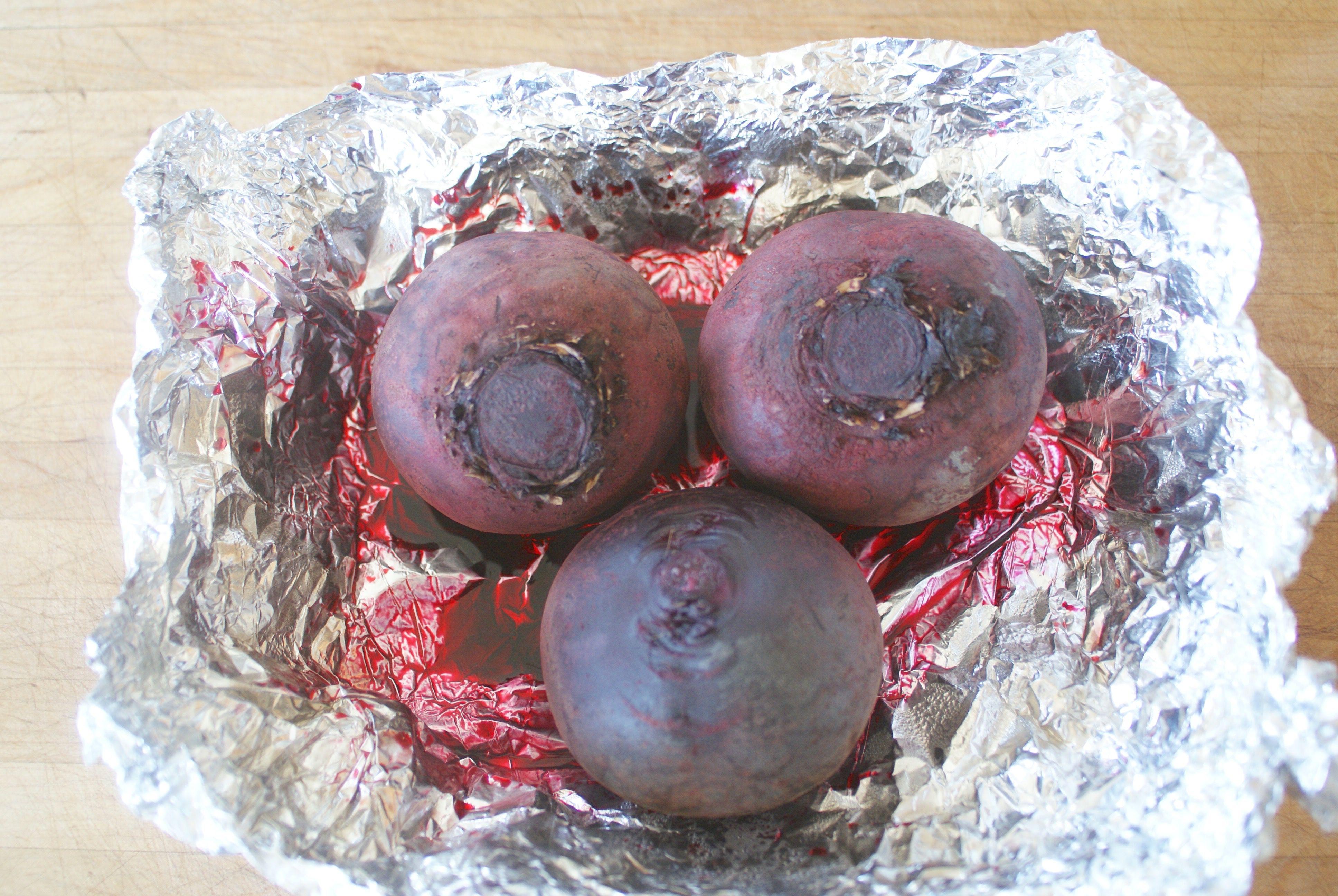 Unpeeled roasted beets