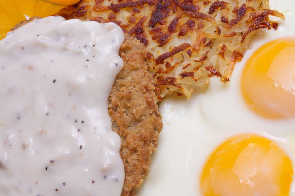 Country-fried steak and eggs