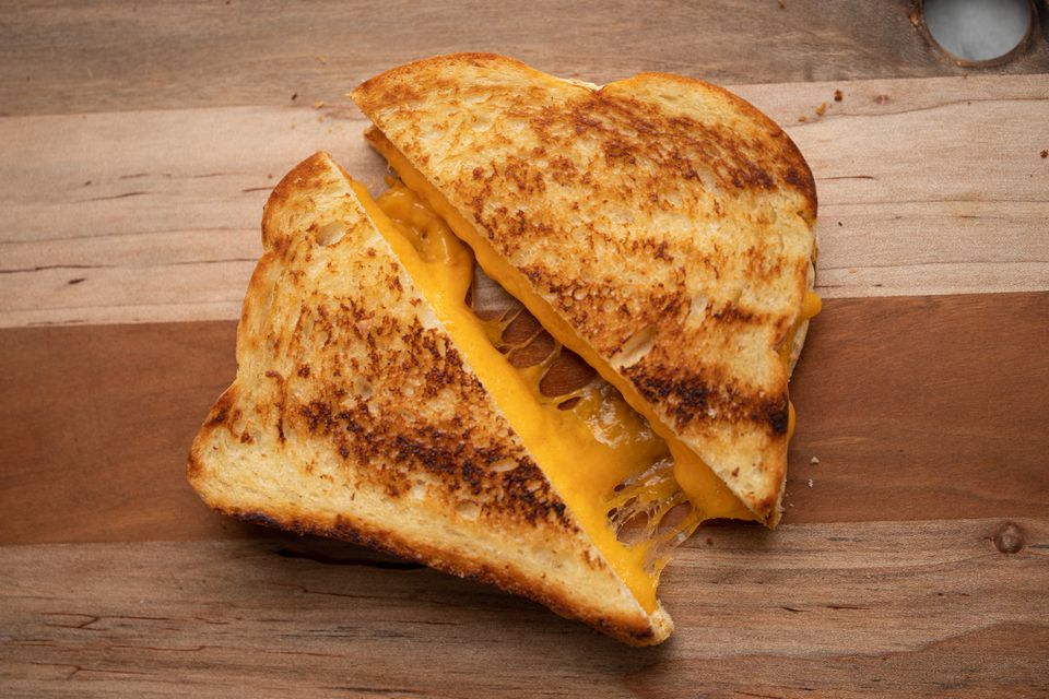 Grilled cheese sandwich pulled apart
