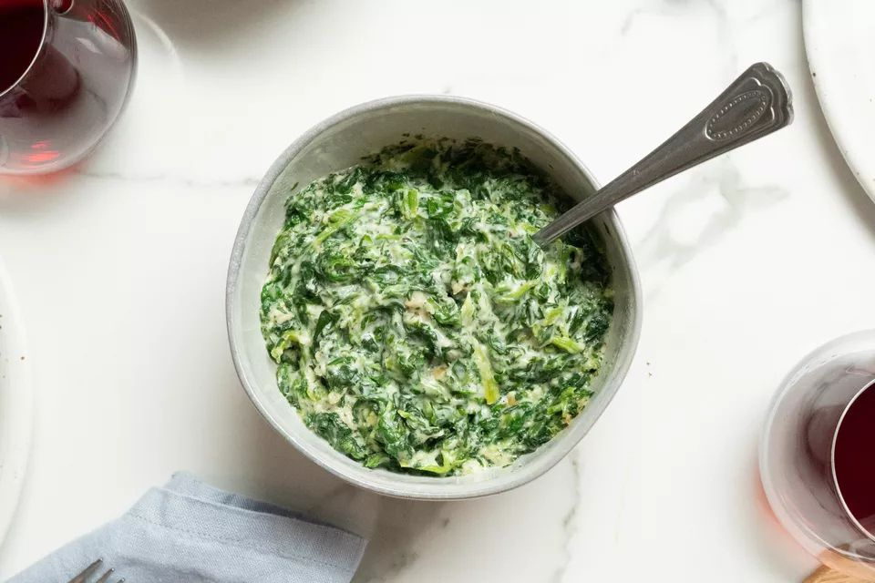 Creamed spinach with parmesan cheese