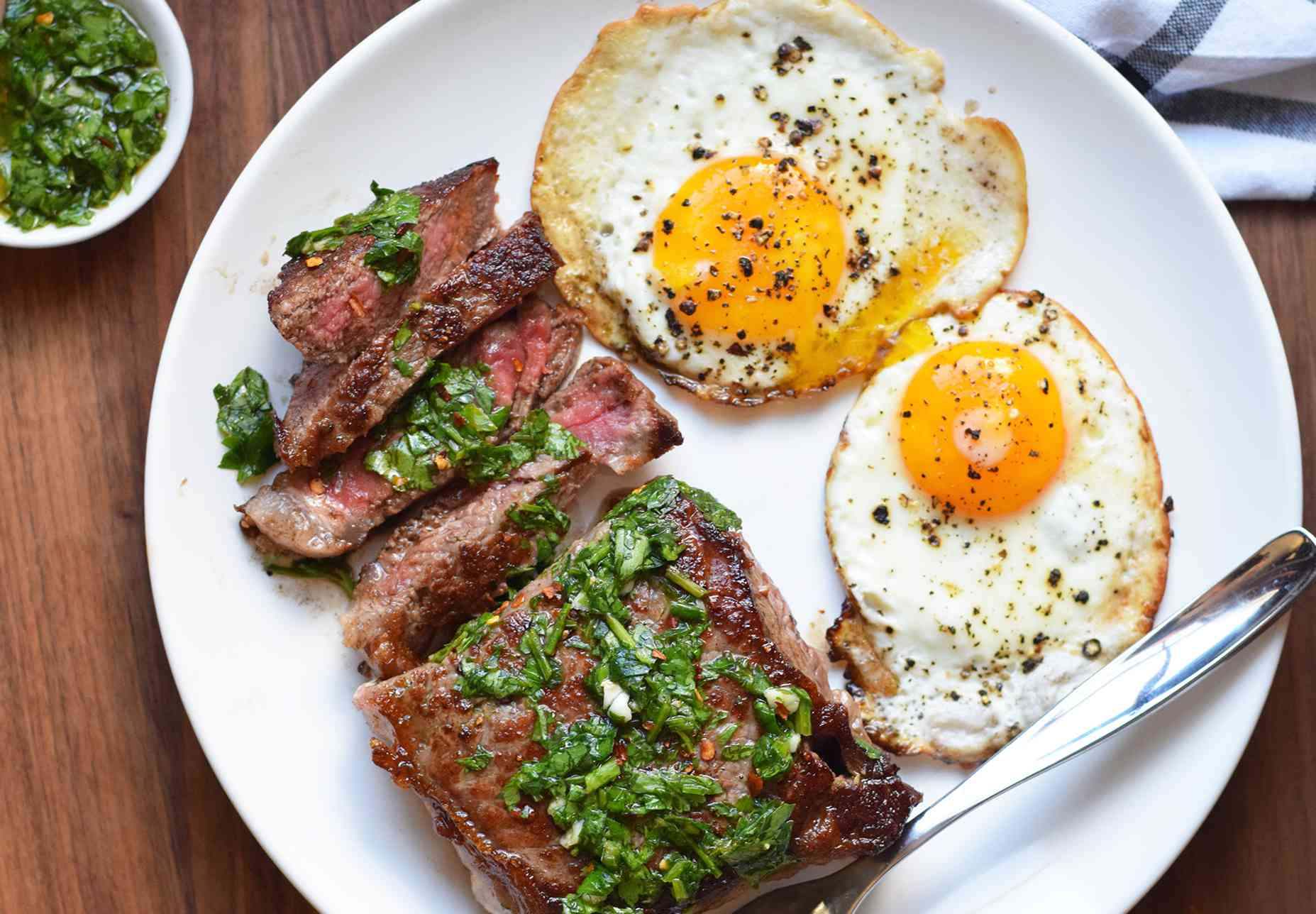 Steak and eggs on a plate