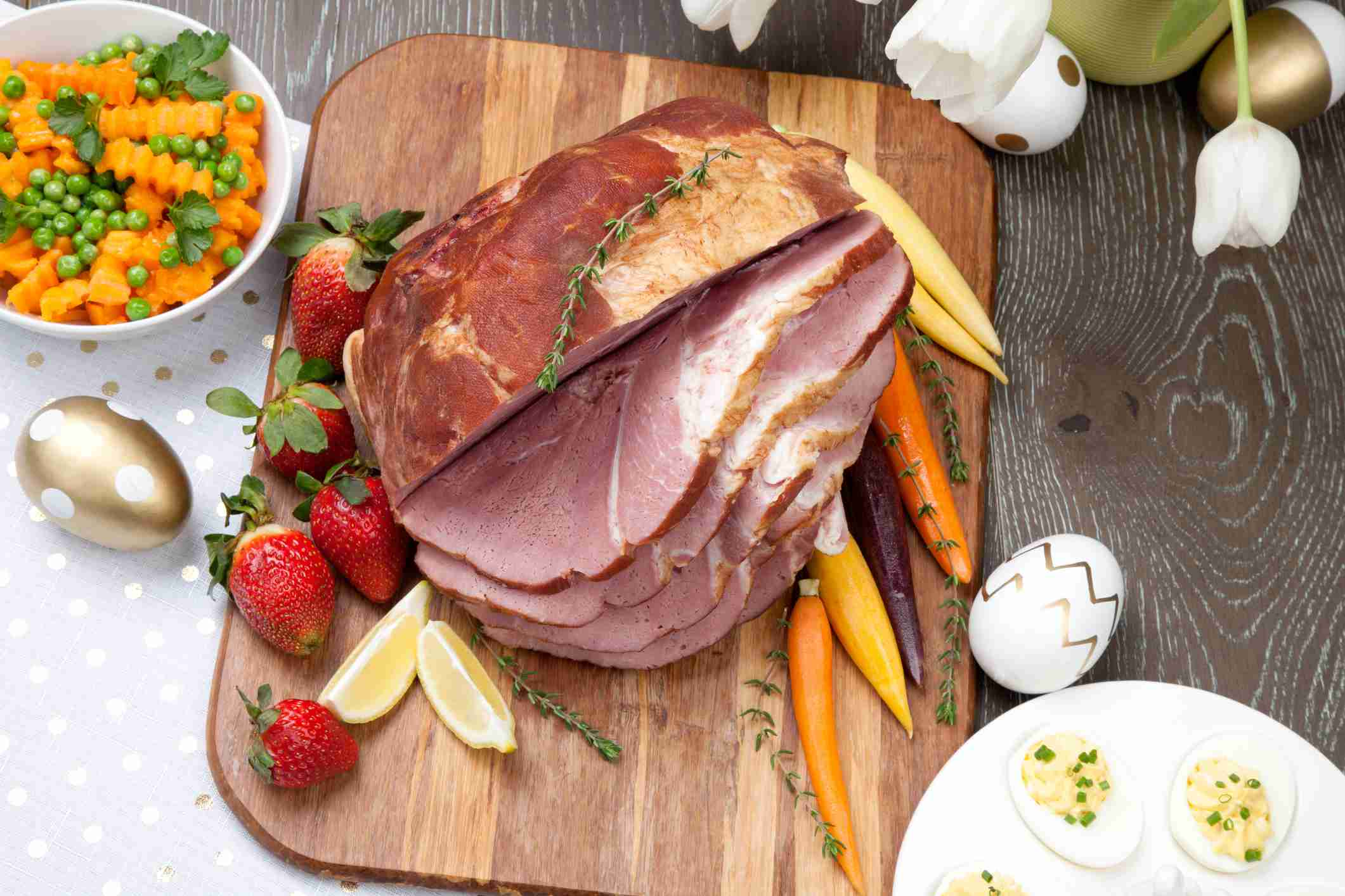 Easter ham and vegetables