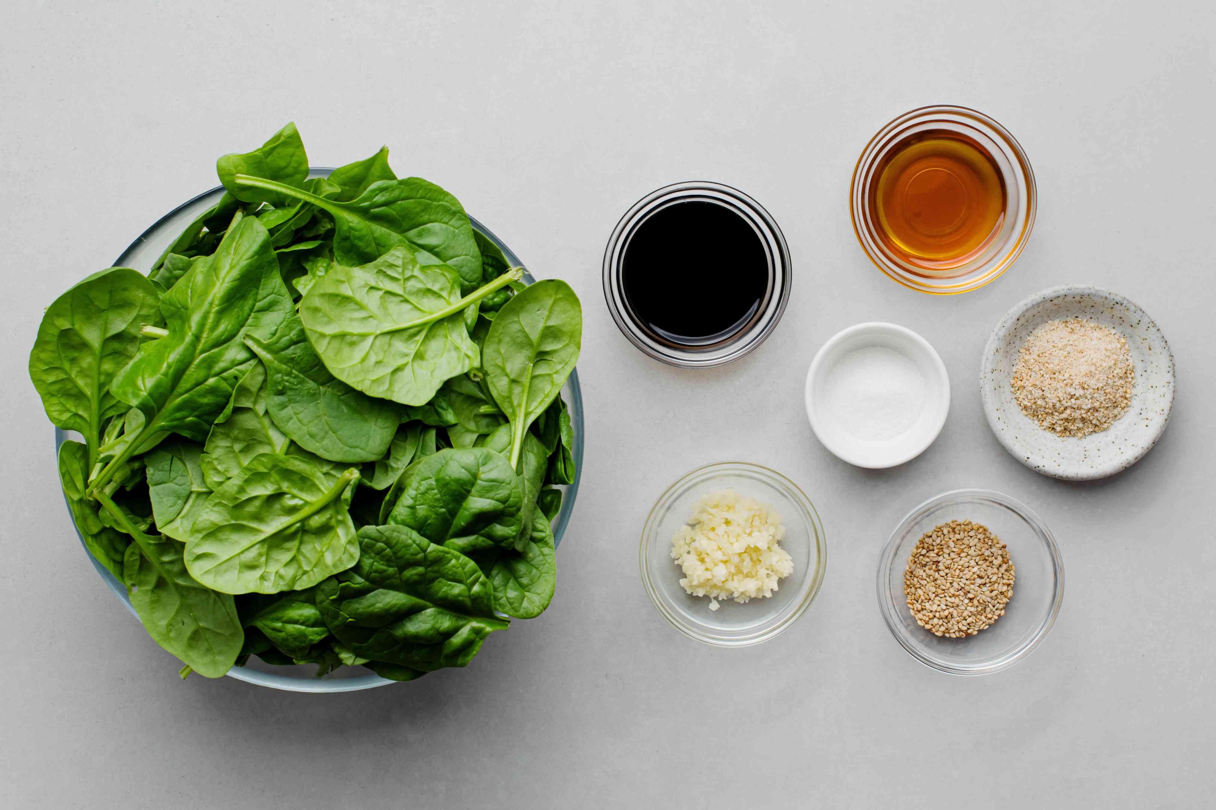 Sigumchi Namul (Korean Seasoned Spinach) ingredients