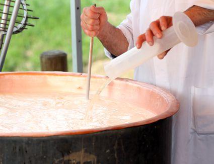 Rennet in a large copper pot
