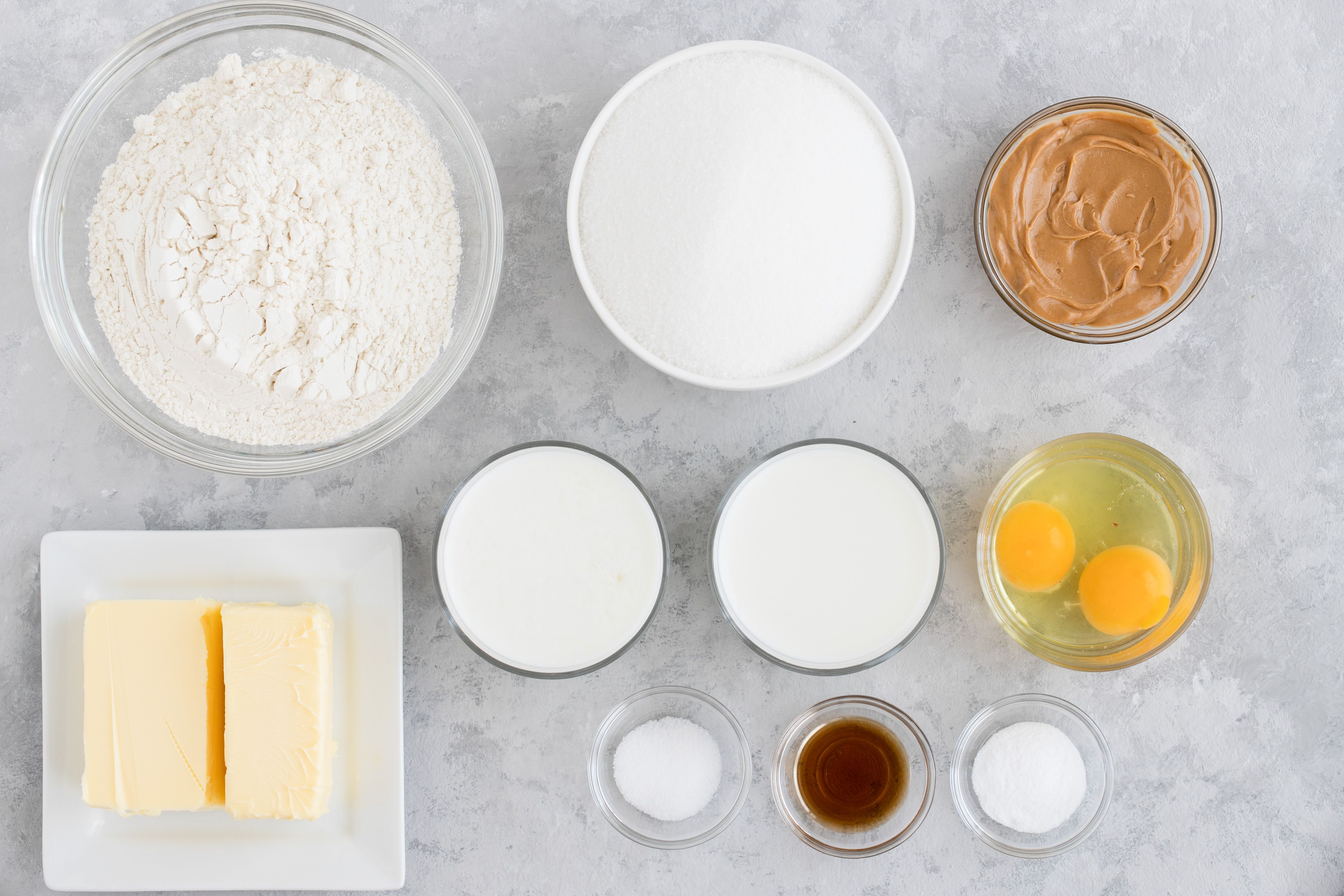 Ingredients for peanut butter cake