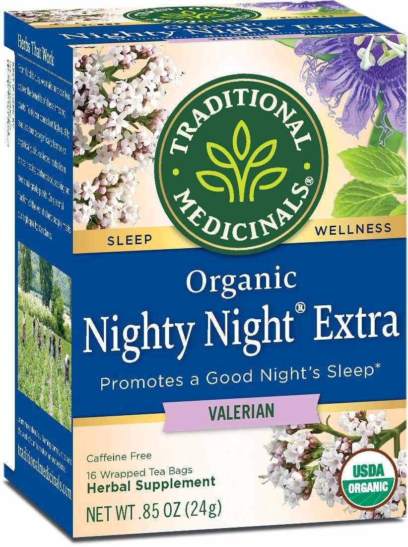Traditional Medicinals Organic Nighty Night Extra Relaxation Valerian Tea.