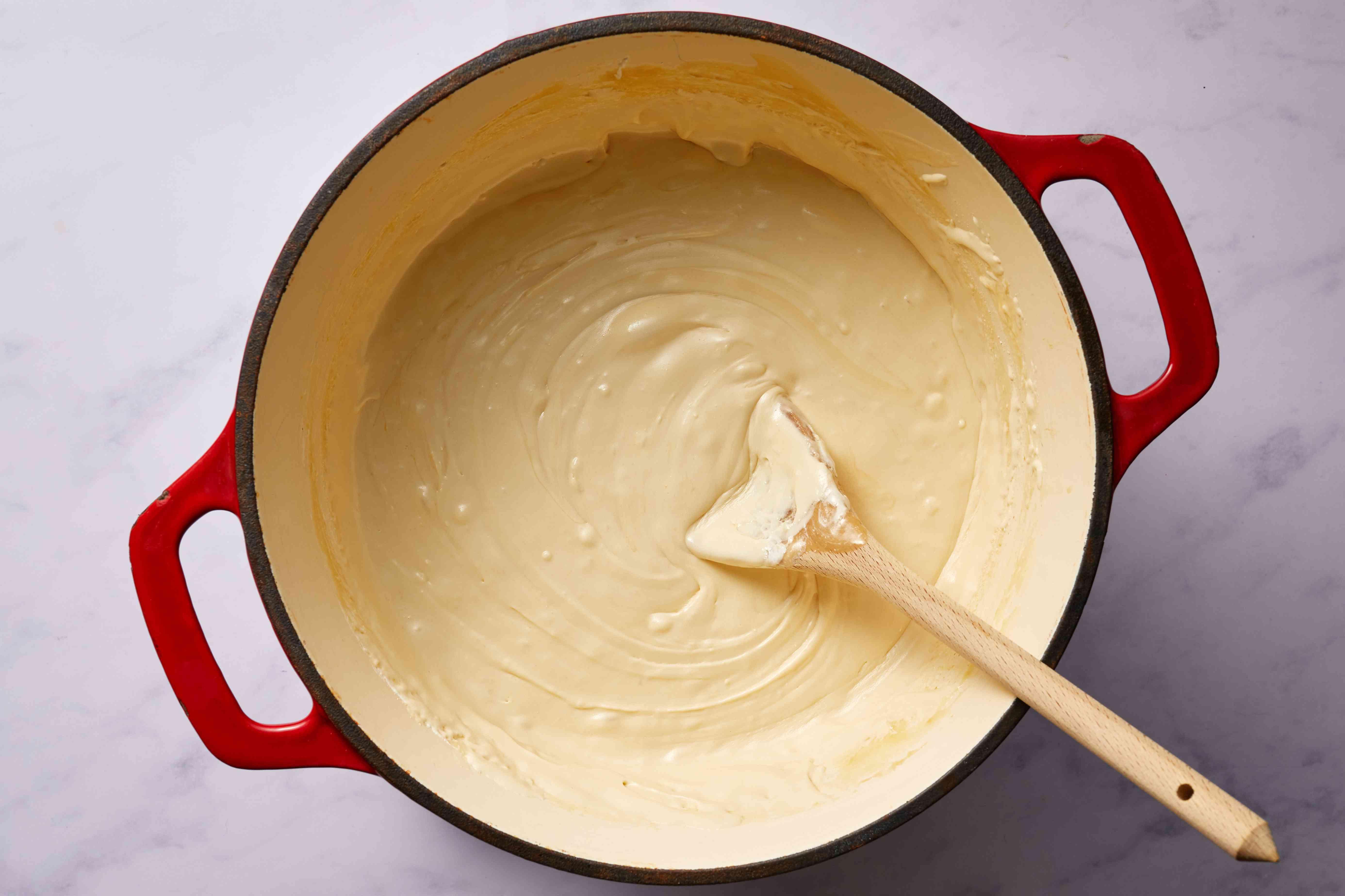 fudge mixture in a saucepan