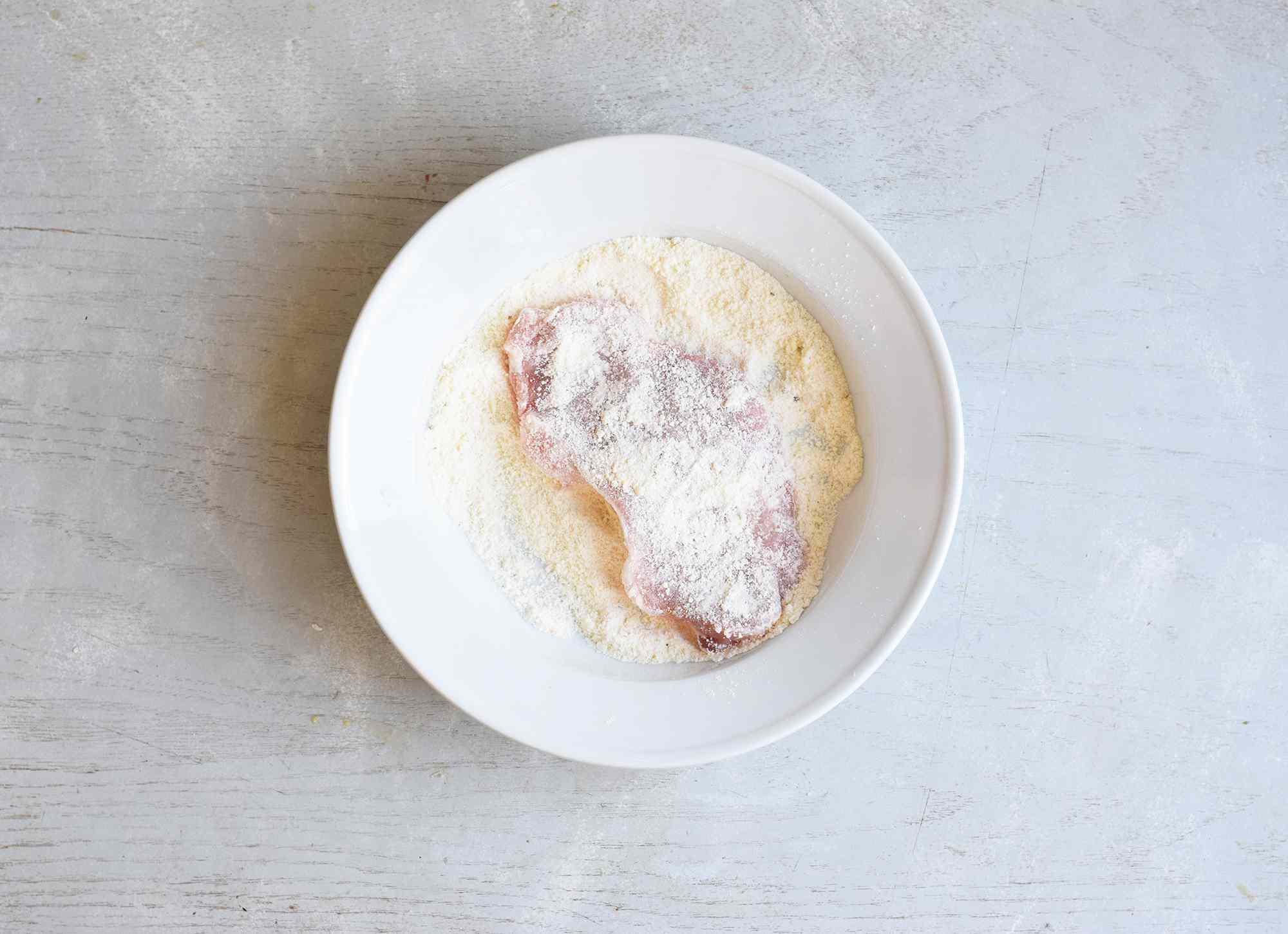 pork chops dipped in flour mixture