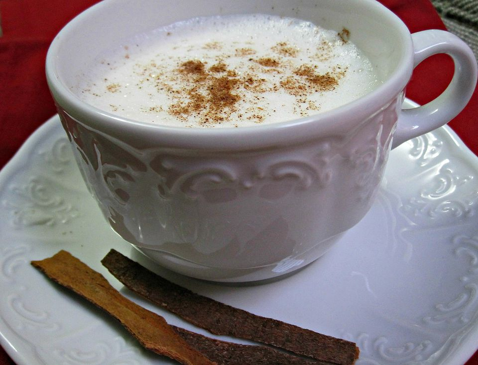 frothed milk with cinnamon