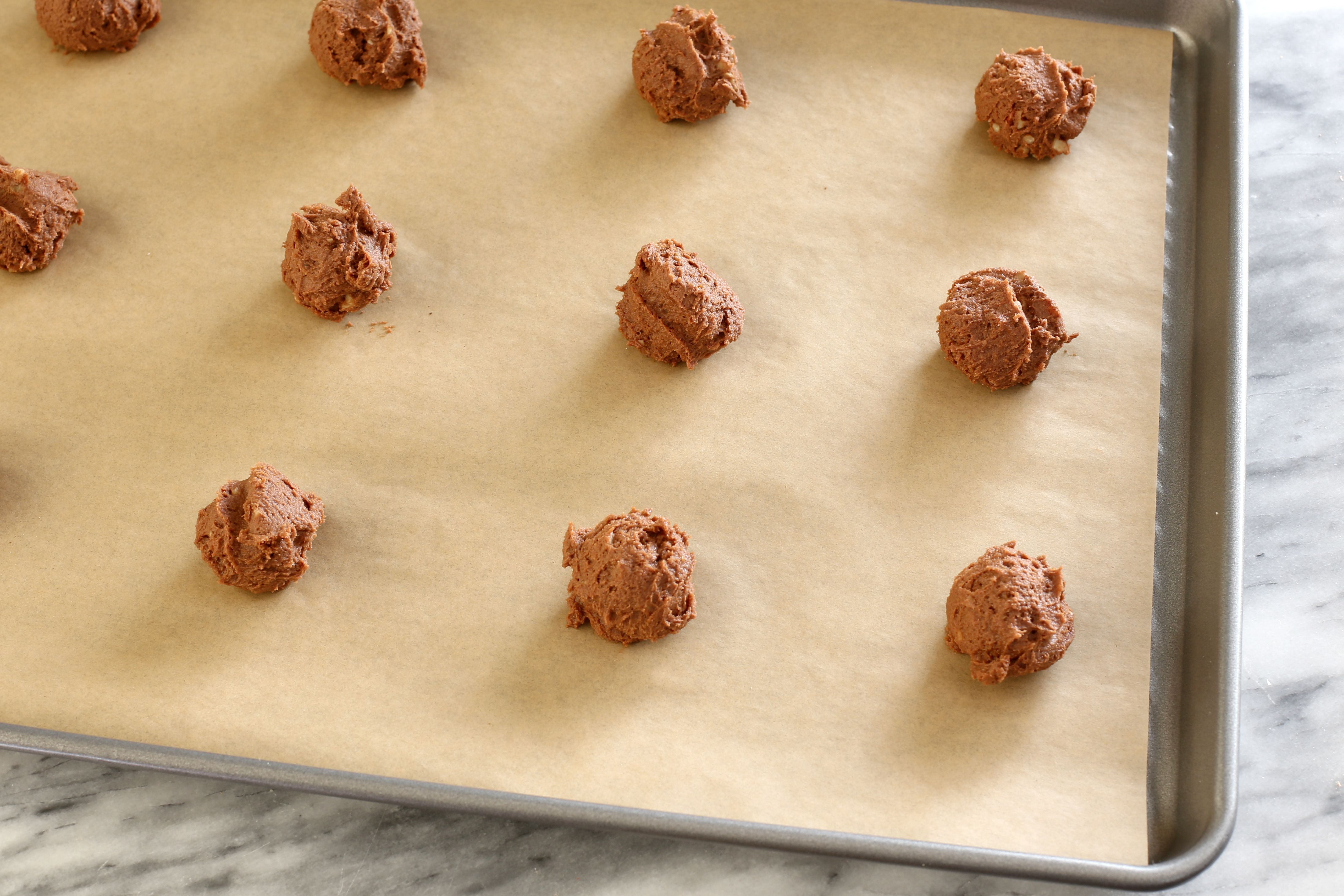 Chocolate drop cookies ready for the oven.