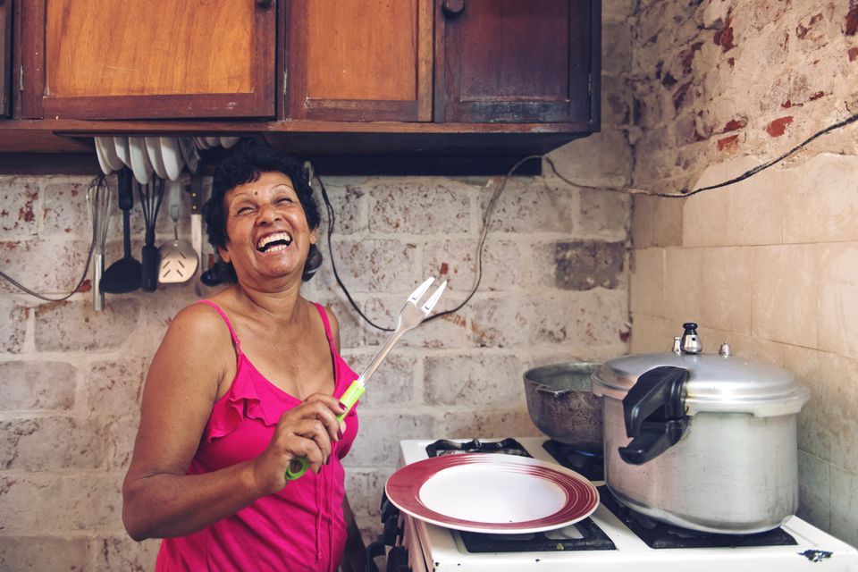 Cuban woman cooking
