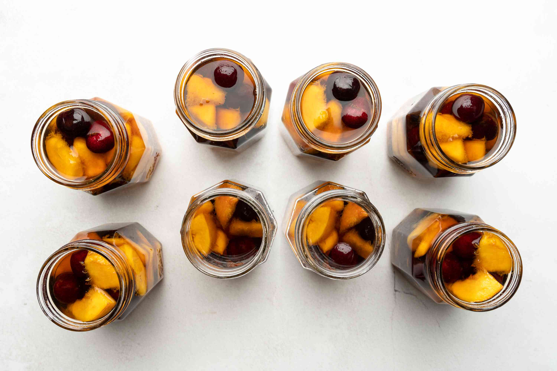 Brandied fruit in jars