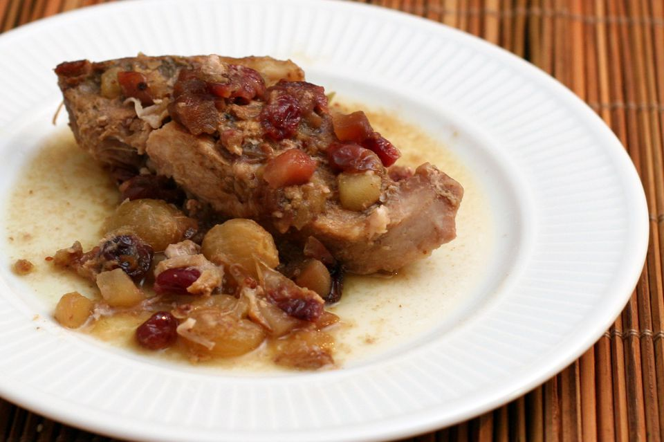 Country Style Pork Ribs With Cranberries and Apples, Slow Cooker