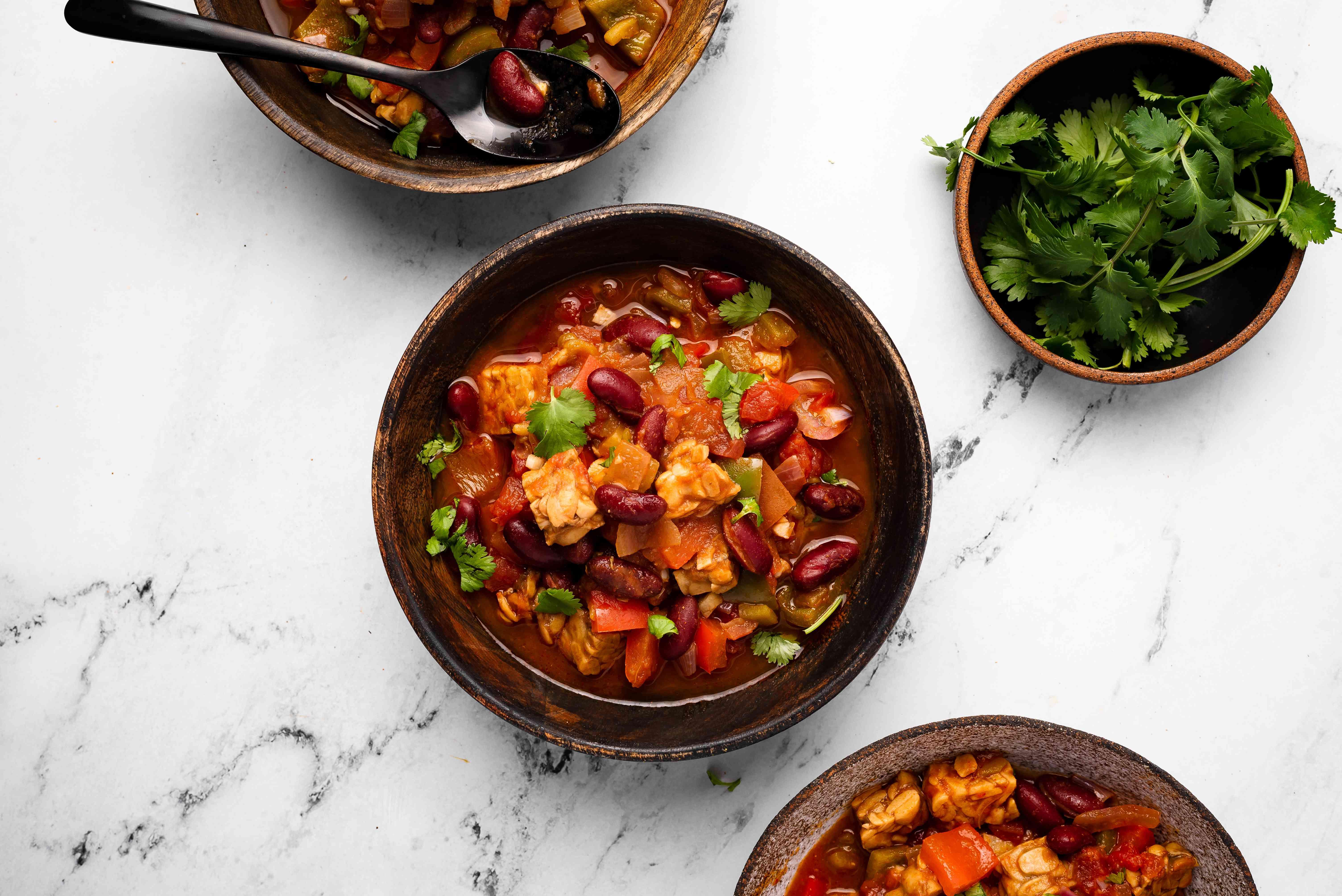 Vegan Tempeh Chili in bowl