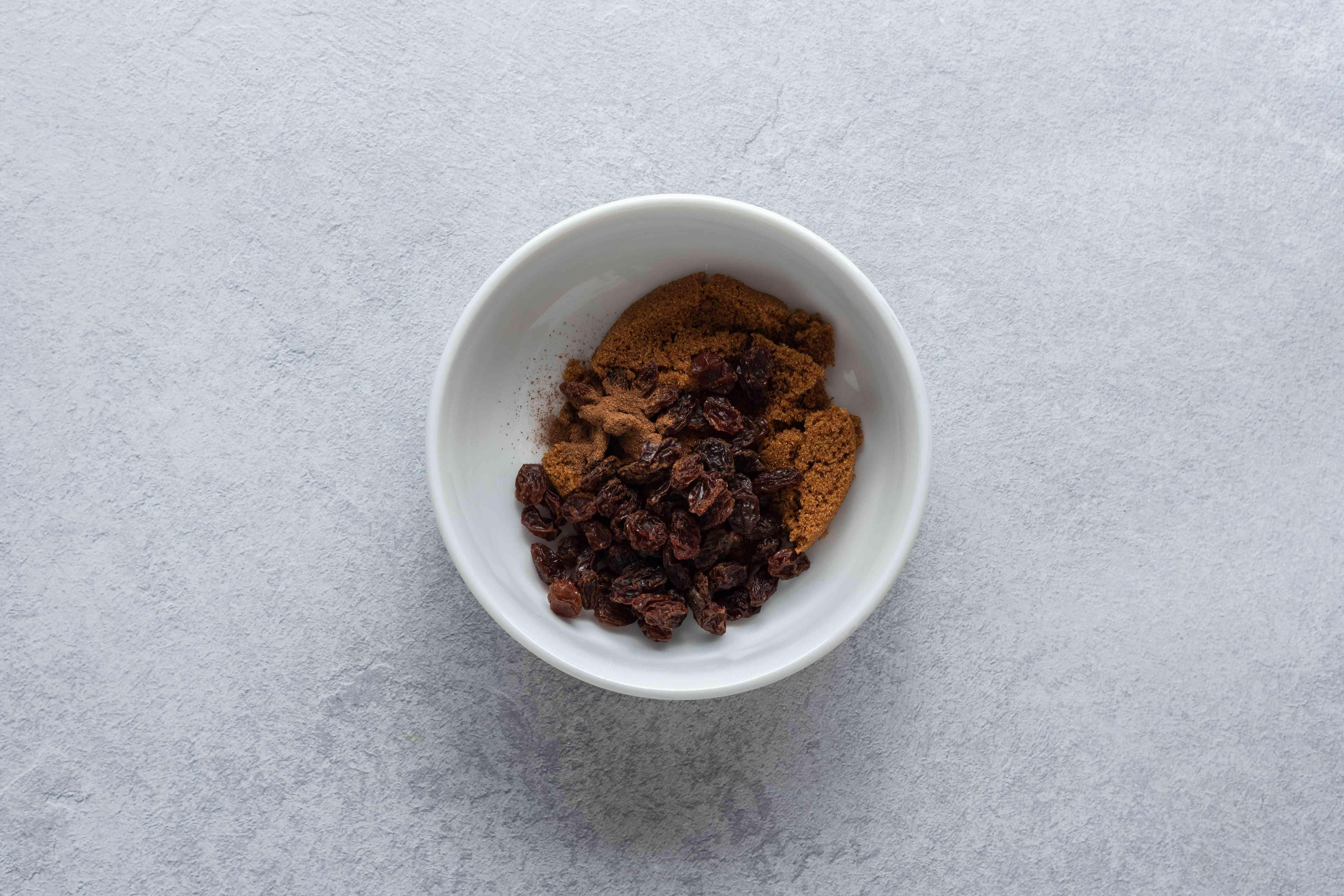 Combine the raisins, brown sugar, and cinnamon in a bowl