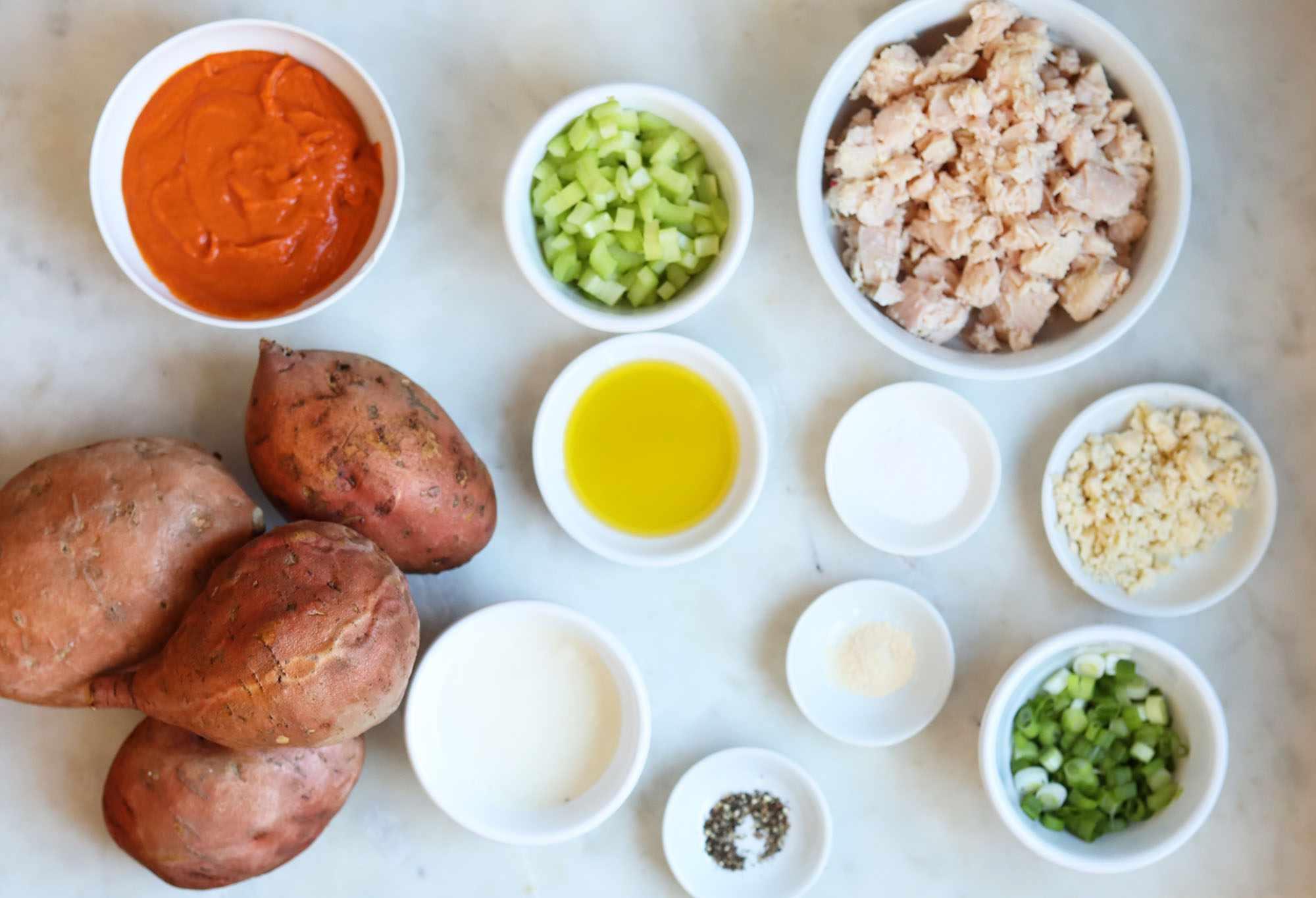ingredients for chicken stuffed sweet potatoes