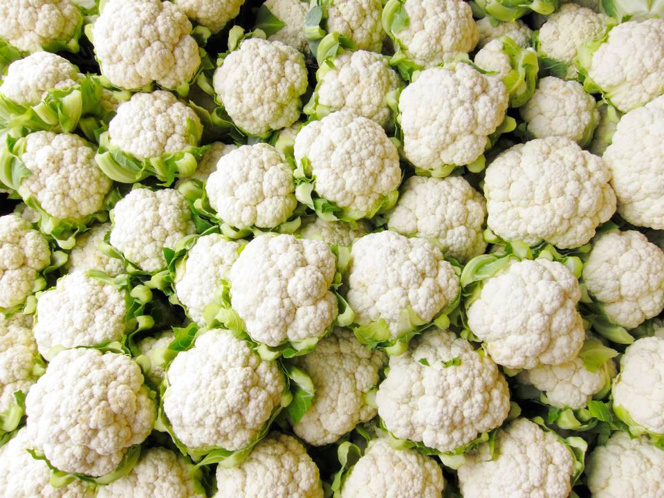 Bin of Cauliflower Heads