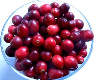 A bowl of cranberries