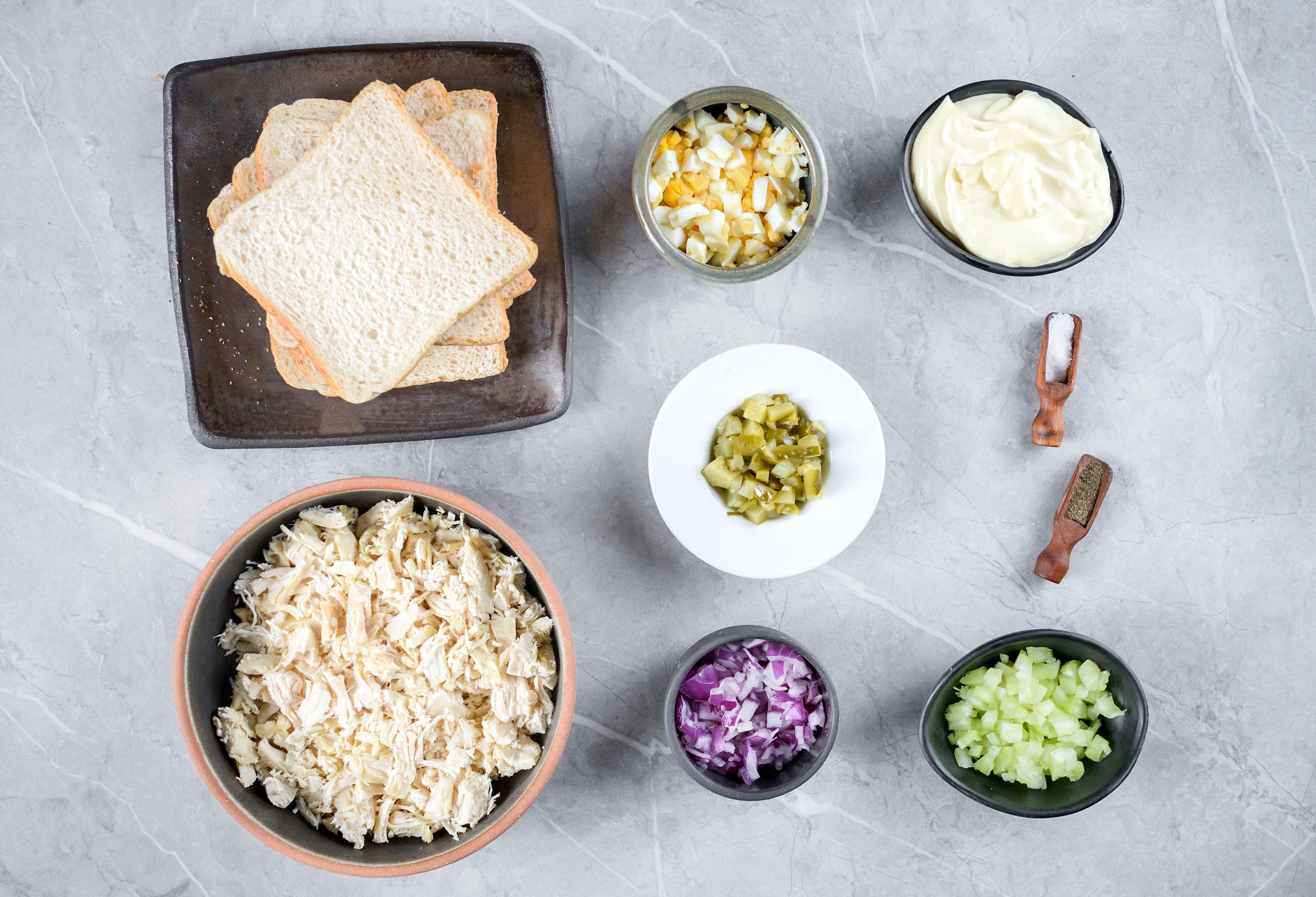 Ingredients for chicken salad sandwich