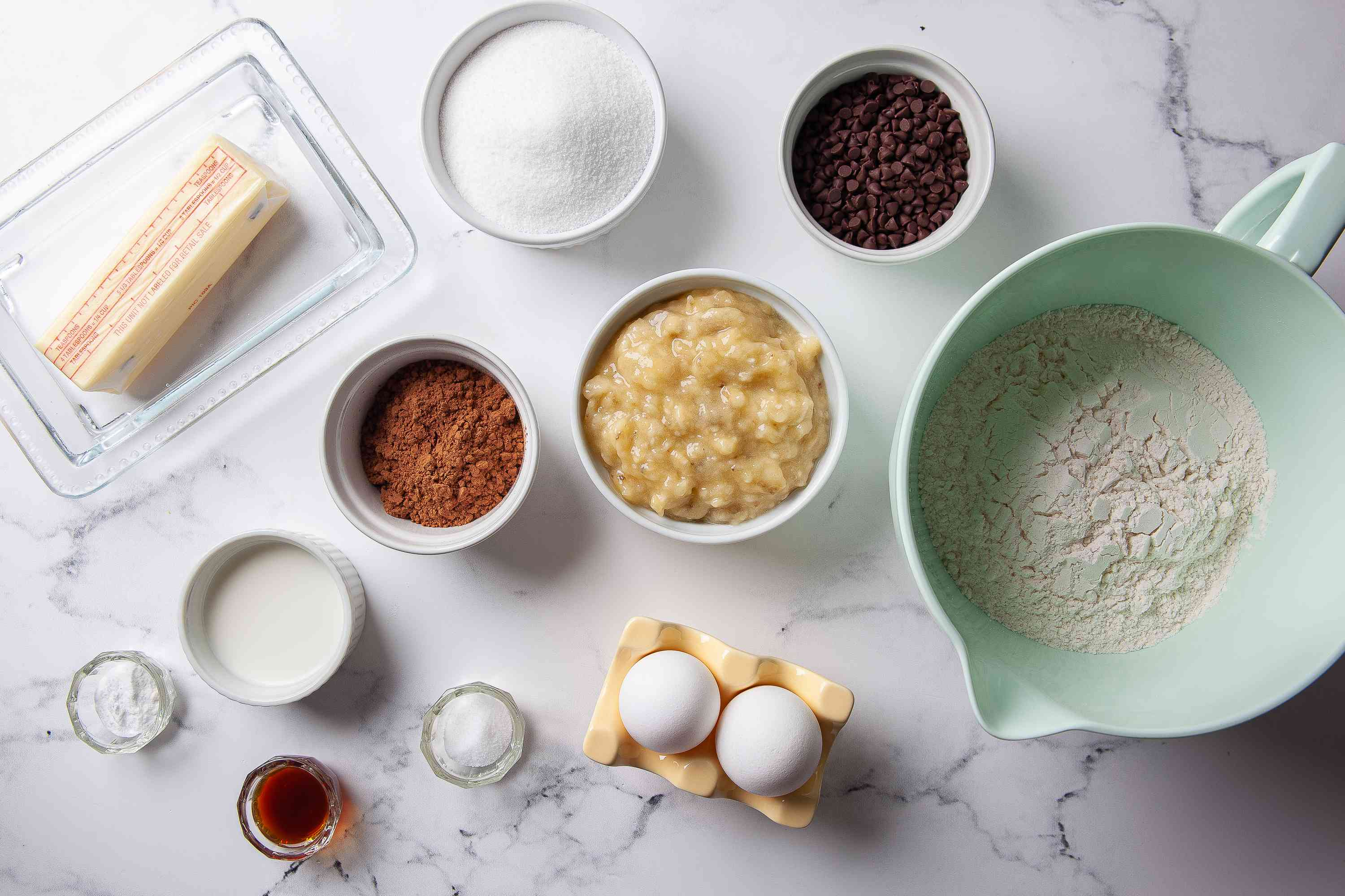 Gather the ingredients for Chocolate Banana Bread