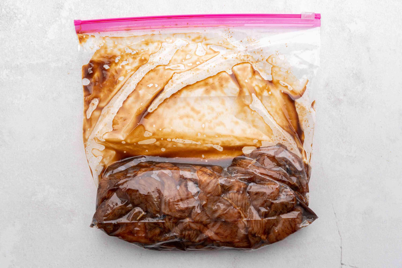 Turkey marinating in the bag