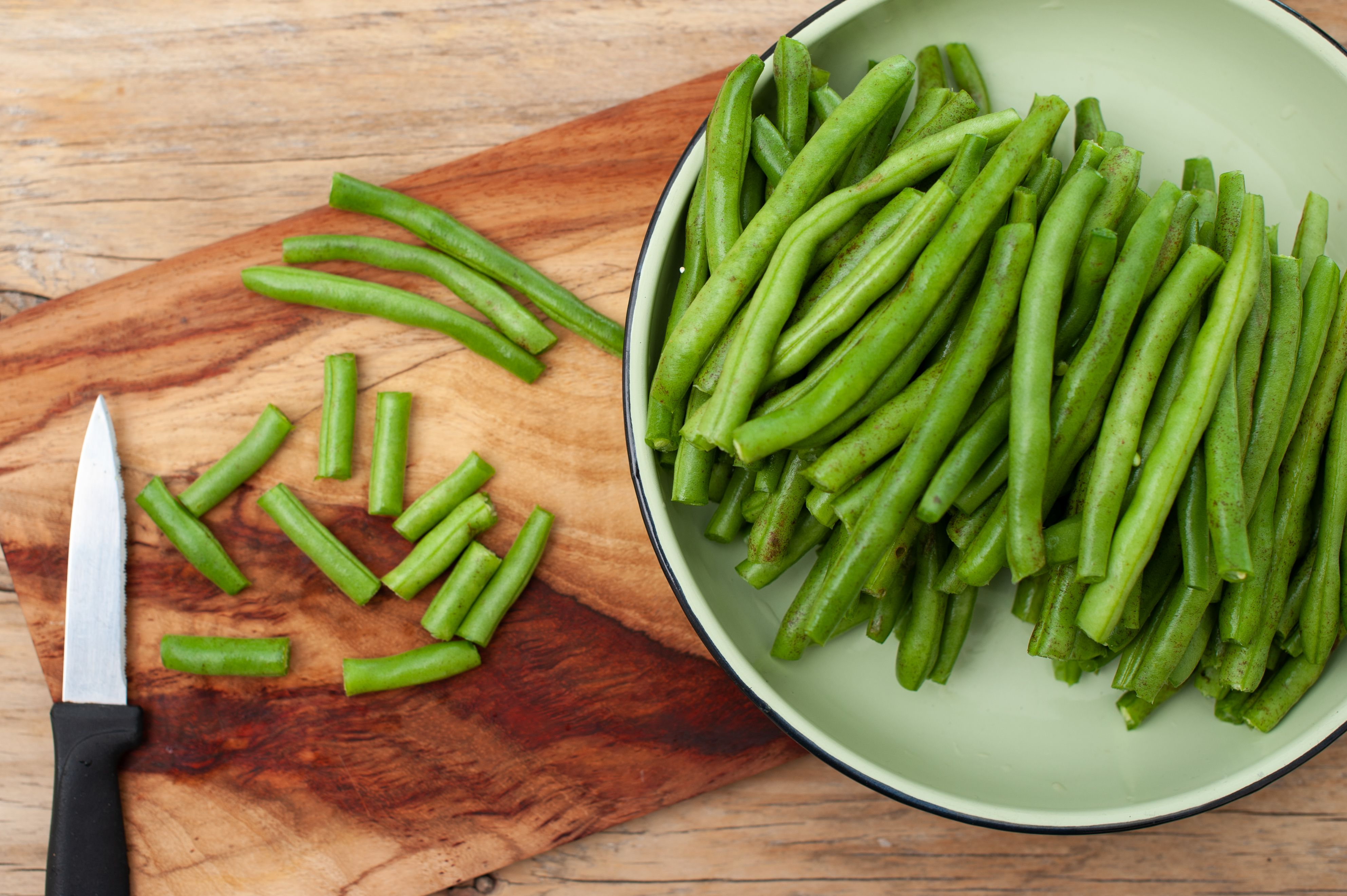 Topping and tailing the green beans