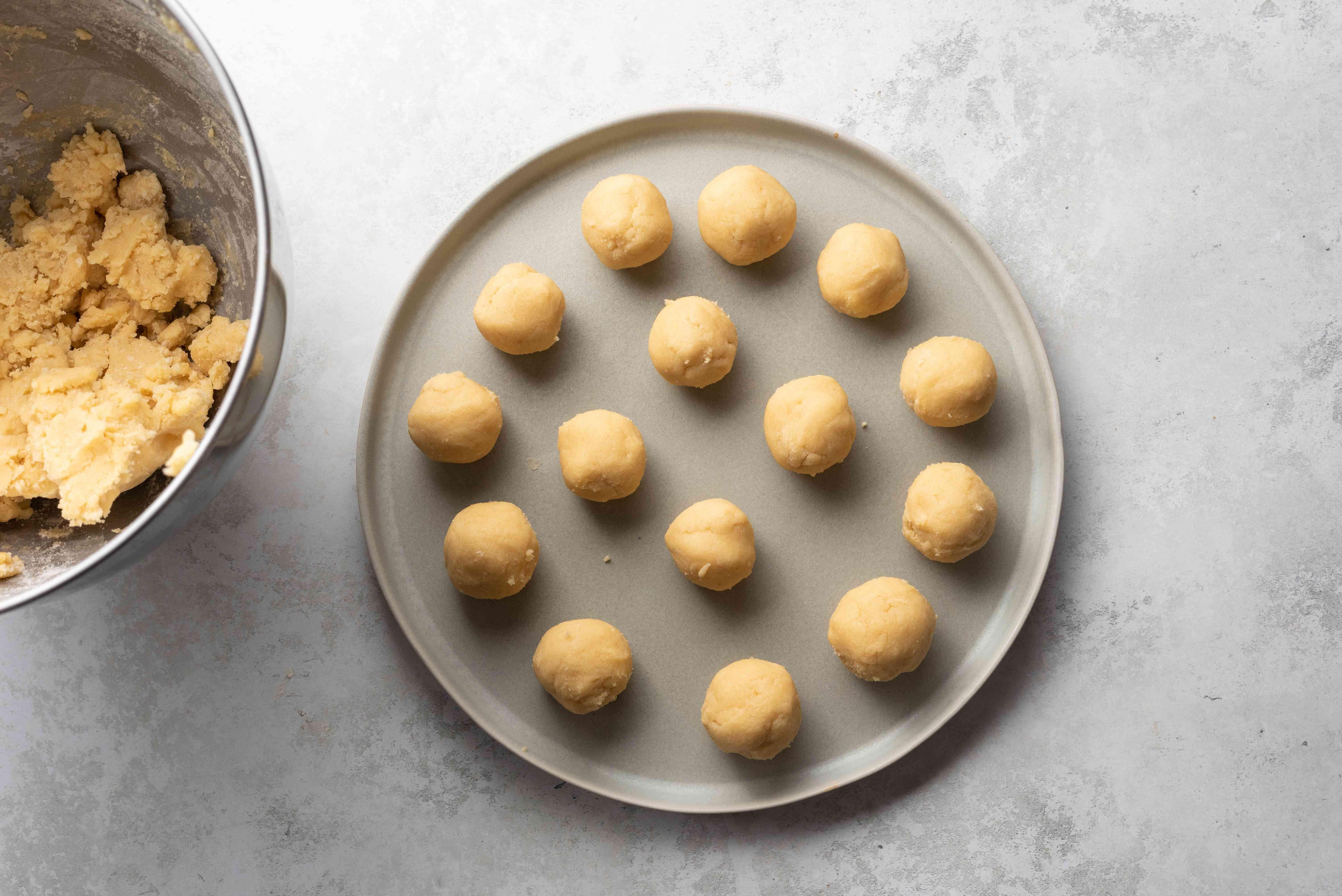 cookie dough balls on a platter