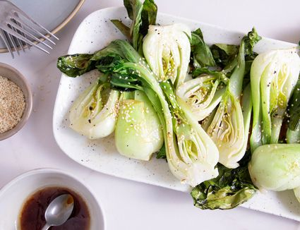 Roasted Bok Choy on a white platter