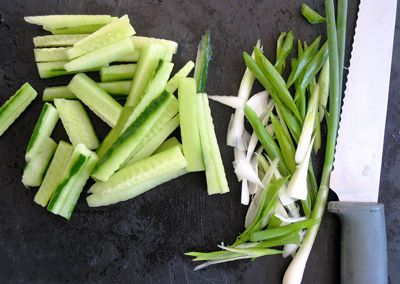 sliced cucumbers and vegetables